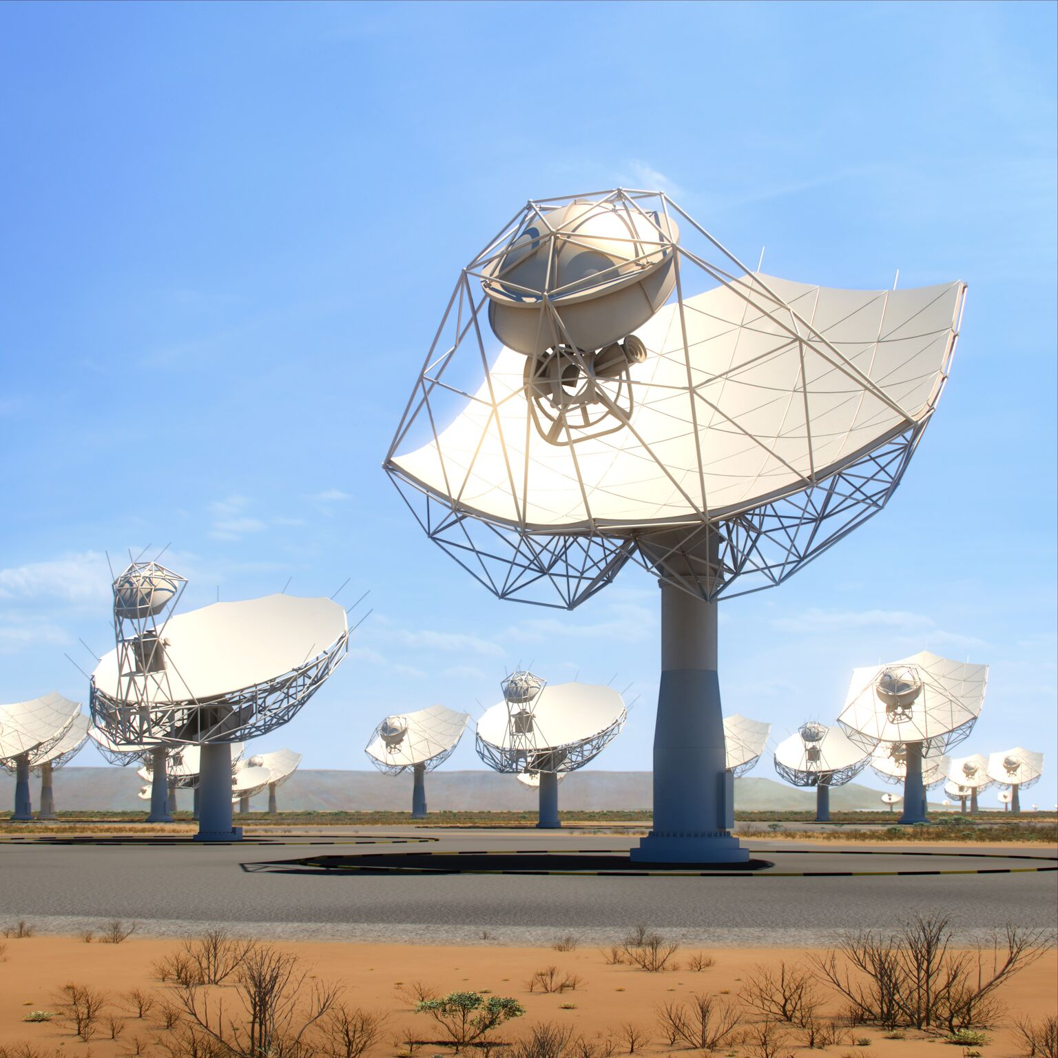 artists rendition of SKA-MID antennas